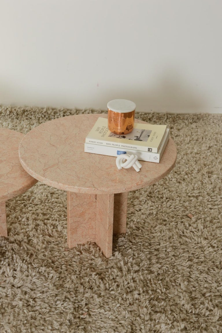 Round Nesting Table in Oriental Pink Marble For Sale 13