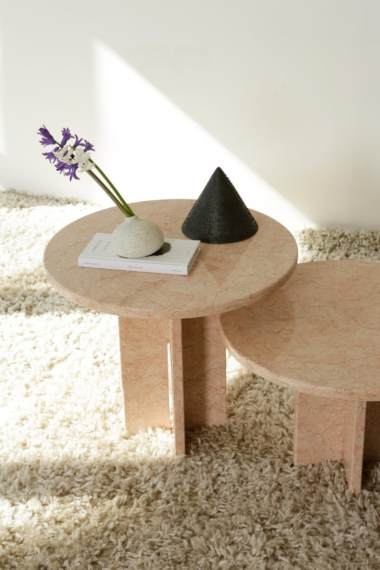 Round Nesting Table in Oriental Pink Marble For Sale 14