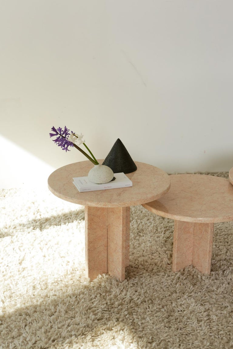 North American Round Nesting Table in Oriental Pink Marble For Sale