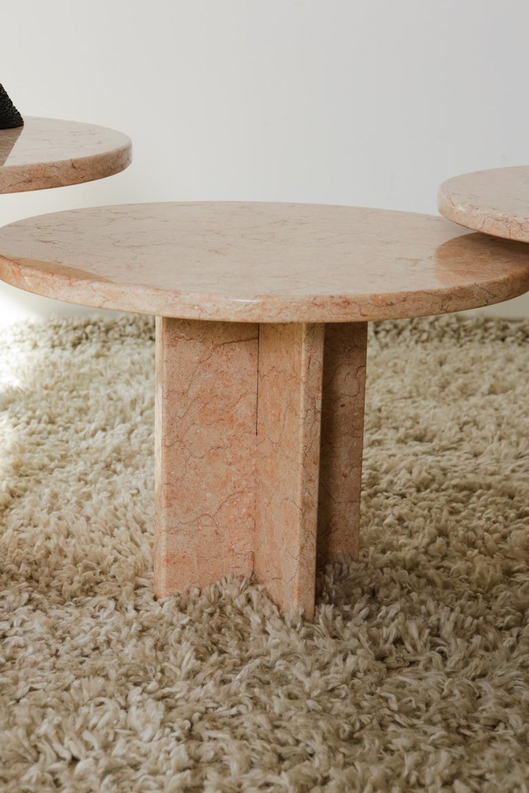 Contemporary Round Nesting Table in Oriental Pink Marble For Sale