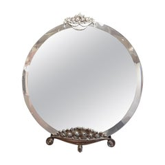 Round Nickel-Plated French Art Deco Wall Mirror