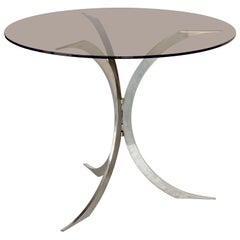 Round Occasional Table of Chrome Metal with Smoked Glass Top from England