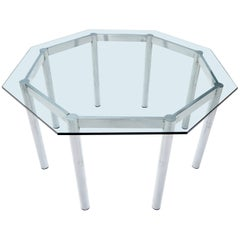 Round Octagon Glass Chrome Base Mid-Century Modern Dining Table