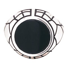 Round Onyx Black Spiderweb Hand Enameled Sterling Silver Signet Cocktail Ring
