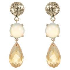 Round Opal Briolette Shaped Citrine Dangle Drop Earrings 14K Yellow Gold Modern