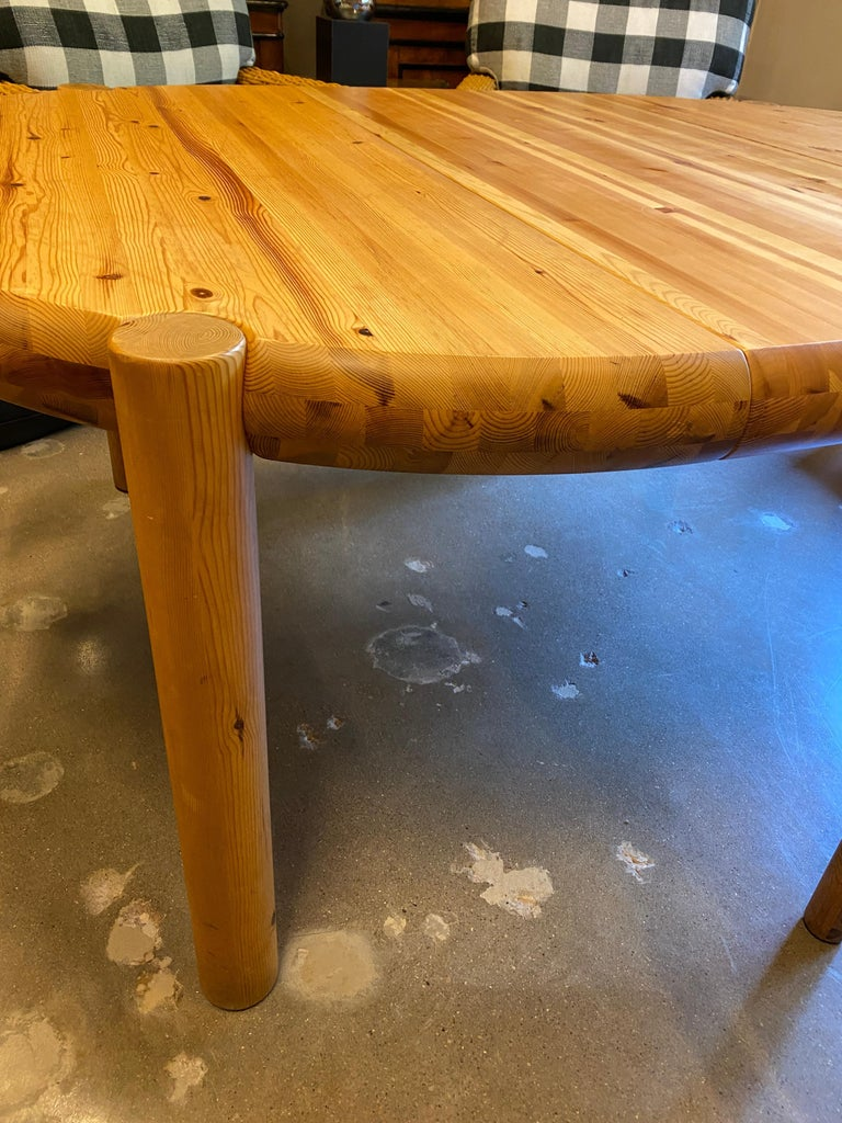 Pine Round or Oval Dining Table with Leaf by Rainer Daumiller, Denmark, 1960s For Sale