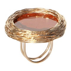 Round Orange Red Jaspis in 14 Karat Yellow Gold Cocktail Ring by Sheila Westera