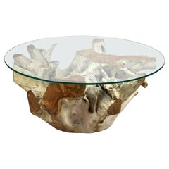 Round Organic Teak Root Coffee Table with Safety Glass Plate, 2021