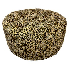 Round Ottoman, Newly Upholstered in Designer Leopard Print Chenille