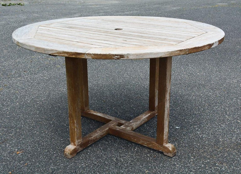 British Colonial Round Outdoor Patio Teak Wood Dining Table For Sale