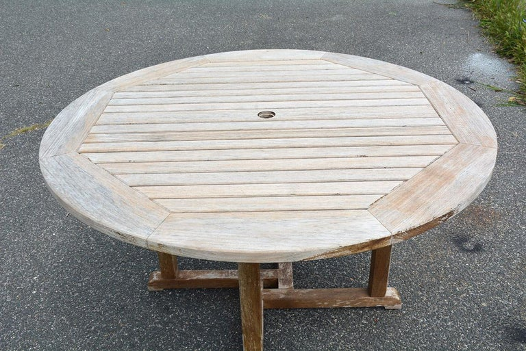 American Round Outdoor Patio Teak Wood Dining Table For Sale