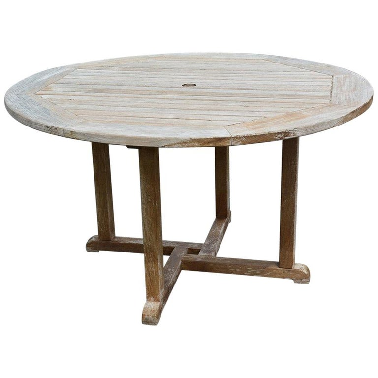 Round Outdoor Patio Teak Wood Dining Table For Sale