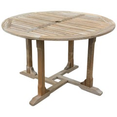 Round Outdoor Patio Teak Wood Dining Table