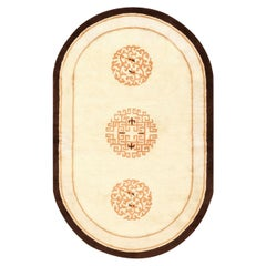 Oval Chinese Art Deco Rug. Size: 3 ft 6 in x 5 ft 7 in (1.07 m x 1.7 m)