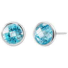 Round Pair Blue Topaz Bezel Set Silver Stud Earrings Weighing 8 Carat