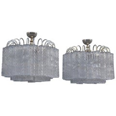 Round Pair of Ceiling Lamp Venini Ice Glass 1960 Triangolar Tubes Italian Design