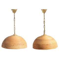 Round Pair of Chandelier Midcentury Bamboo Italian Design 1950s Brass Gold