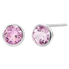 Round Pair of Pink Topaz Bezel Set Silver Stud Earrings Weighing 6 Carat