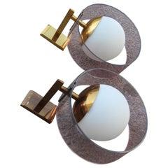 Round Pair of Stilux Wall Sconces Plexiglass Brass Glass Mid-Century Modern