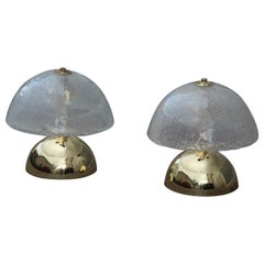 Round Pair of Table Lamp Esperia Angelo Brotto Italian Design Gold Brass, 1970s