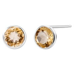 Round Pair of Yellow Citrine Bezel Set Silver Stud Earrings Weighing 6 Carat
