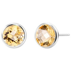 Round Pair of Yellow Citrine Bezel Set Silver Stud Earrings Weighing 8 Carat
