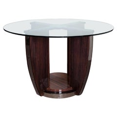 Round Palisander Art Deco Center/ Dining Table Attributed to Louis Sognot