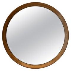 Round Parquetry Italian Wood Mirror, circa 1970s