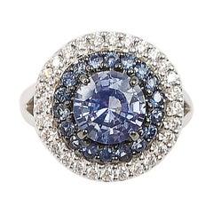 Round Pastel Blue Sapphire with Diamond Ring Set in 18 Karat White Gold Settings