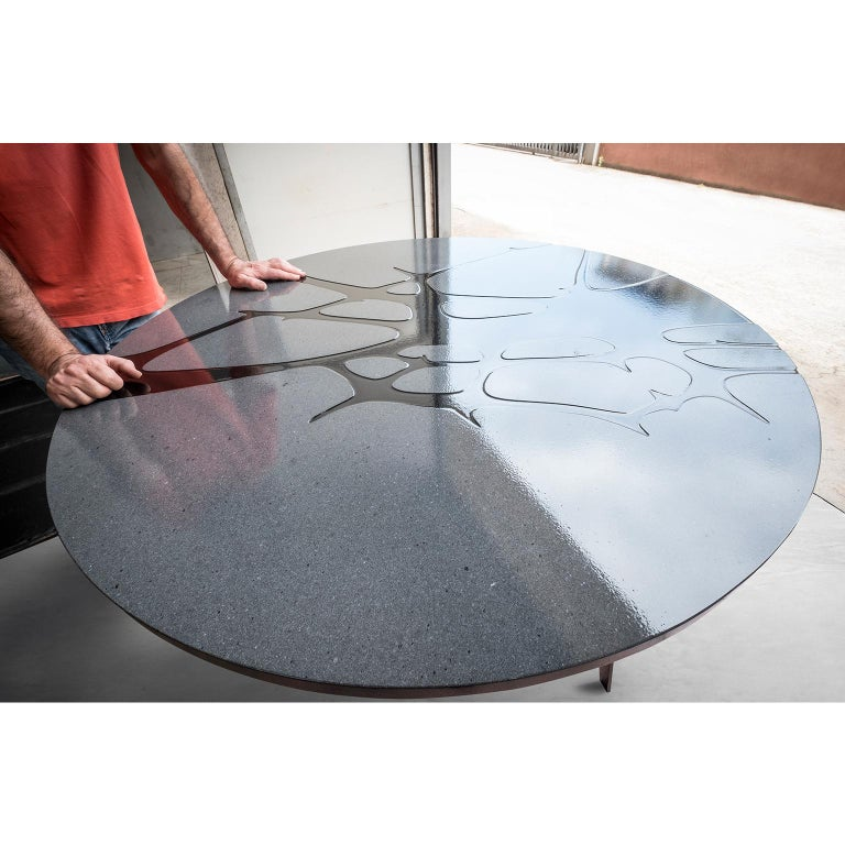 Italian Round Patio Table in Lava Stone and Steel, Filodifumo 1st, Red Enamel For Sale