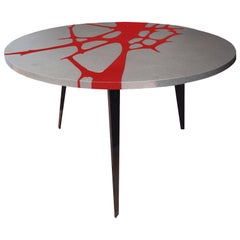 Round Patio Table in Lava Stone and Steel, Filodifumo 1st, Red Enamel