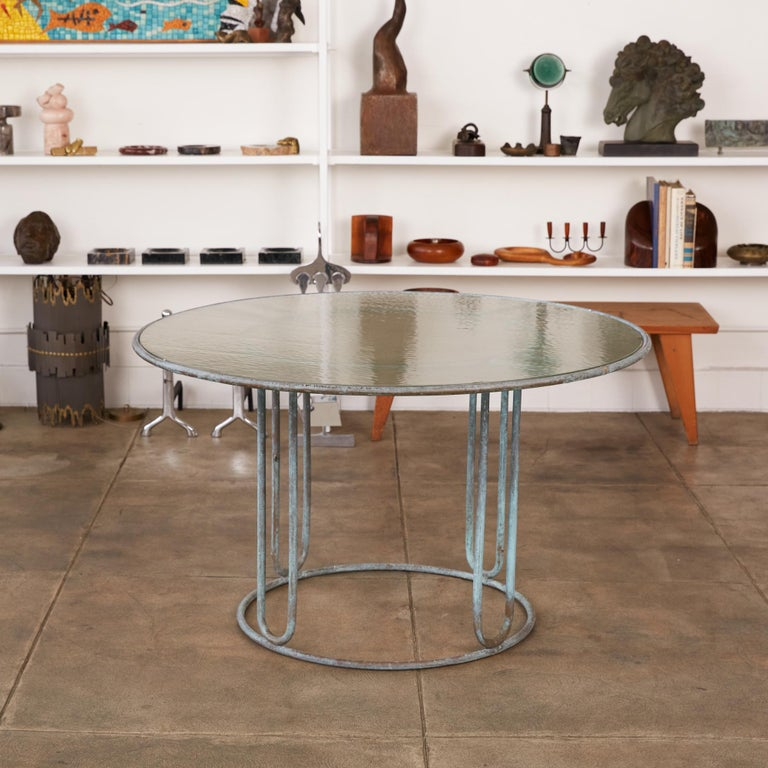 Mid-Century Modern Round Patio Table with Oxidized Bronze Frame by Walter Lamb for Brown Jordan For Sale