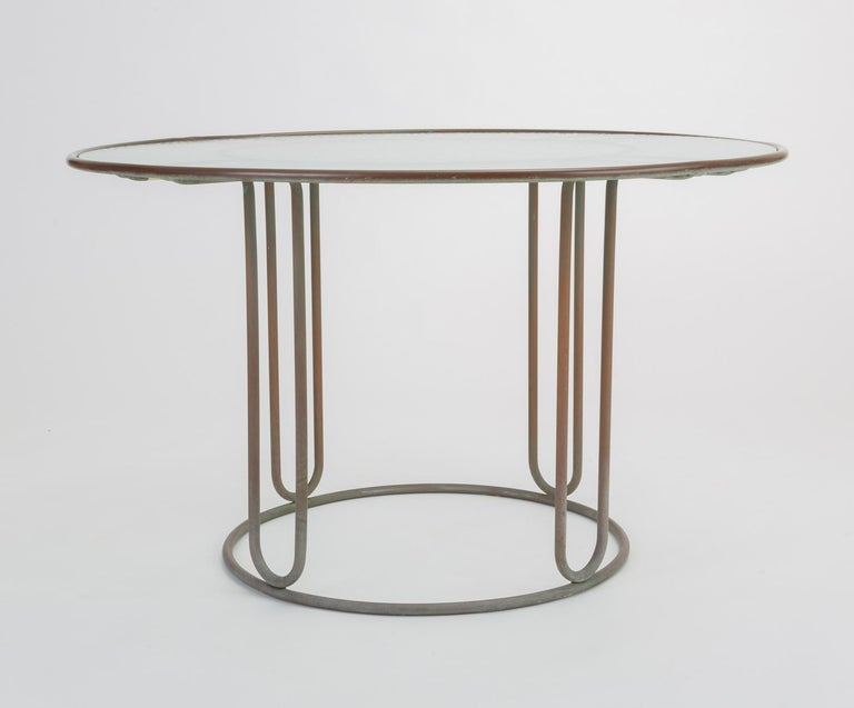 Round Patio Table With Oxidized Bronze Frame By Walter
