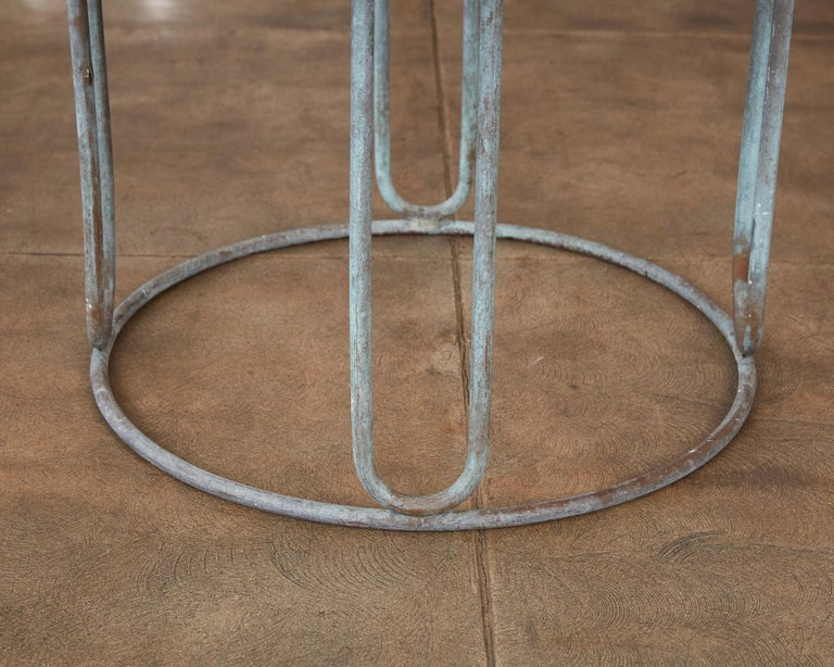 Hammered Round Patio Table with Oxidized Bronze Frame by Walter Lamb for Brown Jordan For Sale