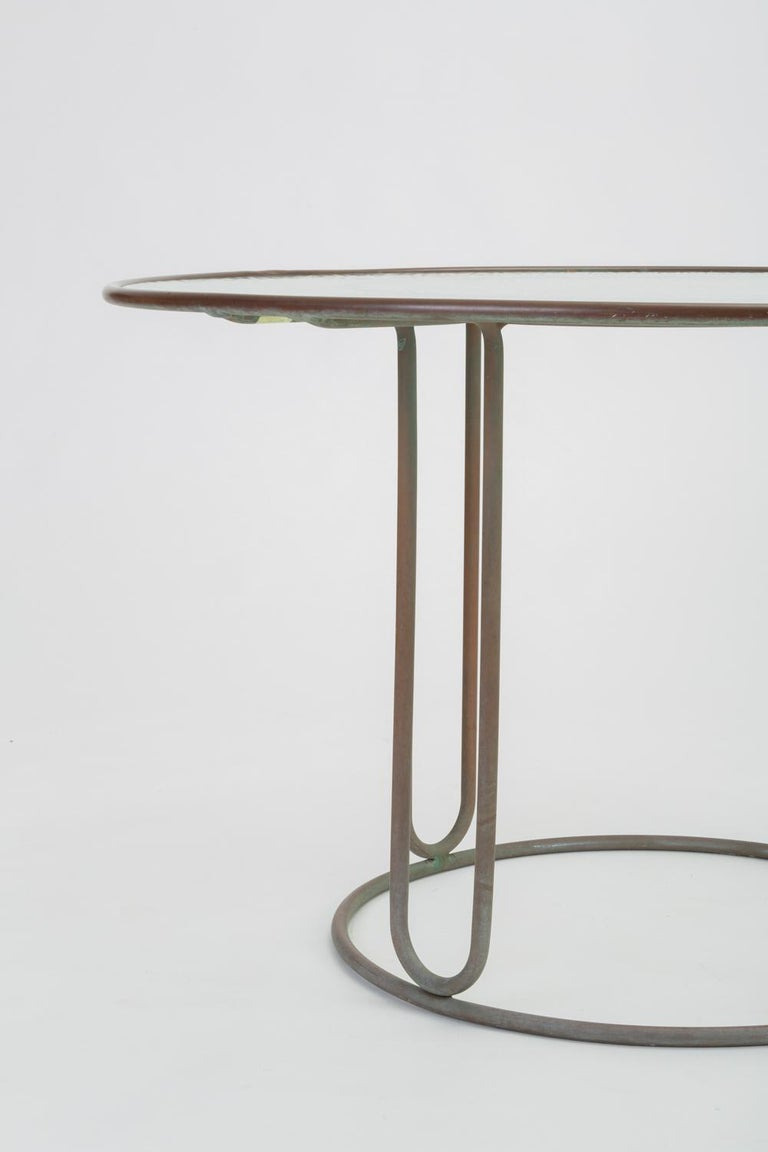 20th Century Round Patio Table with Oxidized Bronze Frame by Walter Lamb for Brown Jordan For Sale