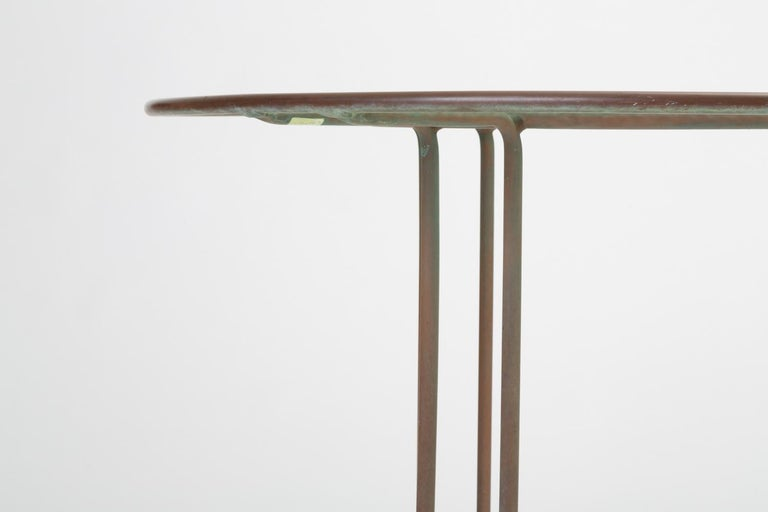 Glass Round Patio Table with Oxidized Bronze Frame by Walter Lamb for Brown Jordan For Sale