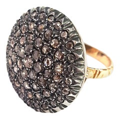 Round Pavé-set Diamond Cocktail Ring in Silver and 9k Gold in Ancient Technique