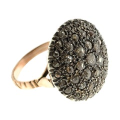 Round Pavé-Set Diamond Cocktail Ring in Silver & Gold in Ancient Technique