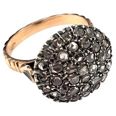 Round Pavé Set Diamond Cocktail Ring in Silver & Gold in Ancient Technique 'Md'
