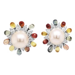 Round Pearl Briolette Sapphires 18 Karat White Gold Stud Earrings
