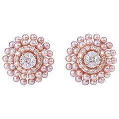 Round Pearl Diamond Eartops