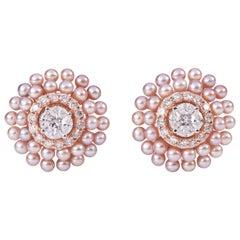 Round Pearl Diamond Eartops
