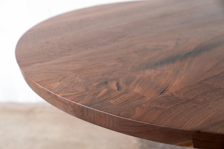 Mid-Century Modern Round Pedestal Base Dining Table Solid Walnut Wood Top on Hand Cast Tulip Base For Sale