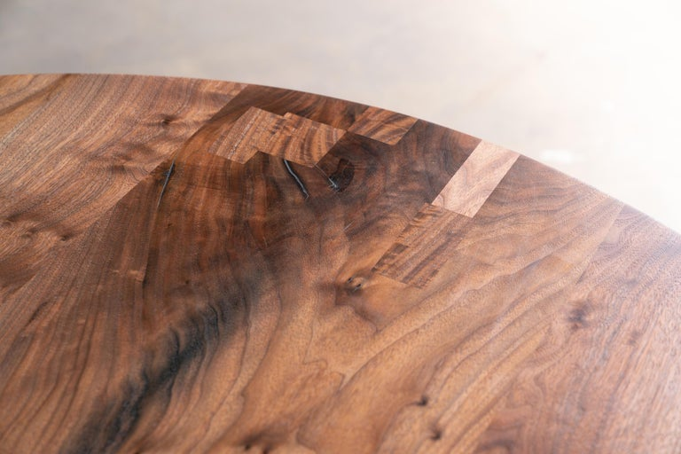 American Round Pedestal Base Dining Table Solid Walnut Wood Top on Hand Cast Tulip Base For Sale