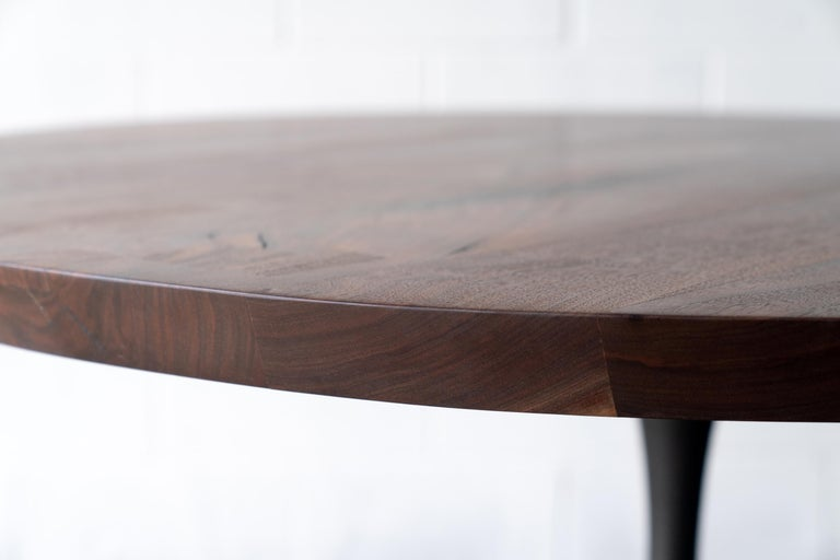 Round Pedestal Base Dining Table Solid Walnut Wood Top on Hand Cast Tulip Base In New Condition For Sale In Birmingham, AL
