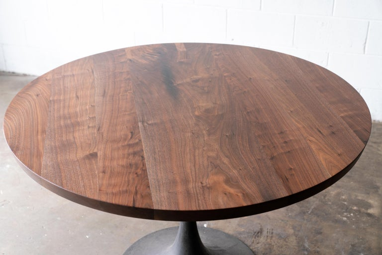 Round Pedestal Base Dining Table Solid Walnut Wood Top on Hand Cast Tulip Base For Sale 1