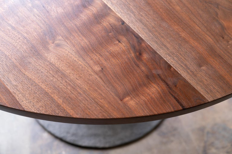 Round Pedestal Base Dining Table Solid Walnut Wood Top on Hand Cast Tulip Base For Sale 2