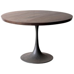 Round Pedestal Base Dining Table Solid Walnut Wood Top on Hand Cast Tulip Base
