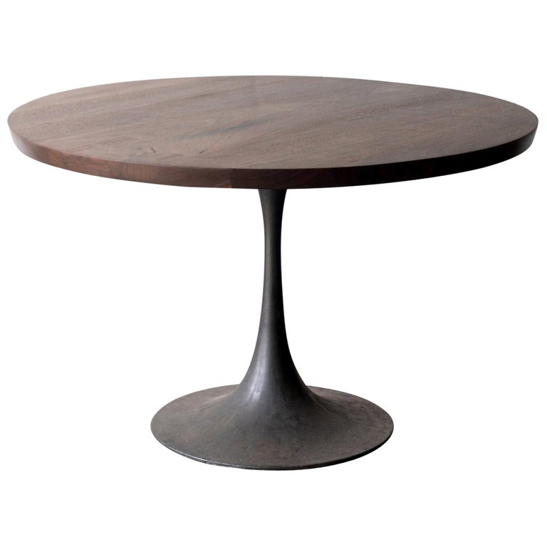 Round Pedestal Base Dining Table Solid Walnut Wood Top on Hand Cast Tulip Base For Sale