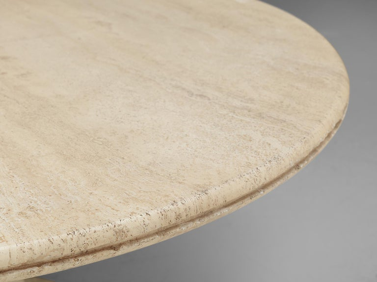 Late 20th Century Round Pedestal Coffee Table in Travertine For Sale